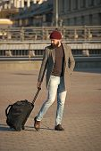 Let Travel Begin. Traveler With Suitcase Arrive To Airport Railway Station. Hipster Ready Enjoy Trav poster