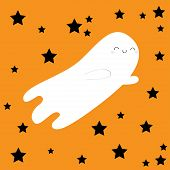 Flying Ghost Spirit. Black Star Silhouette. Happy Halloween. Boo. Scary White Ghosts. Cute Cartoon S poster