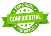 Confidential Ribbon. Confidential Round Green Sign. Confidential poster