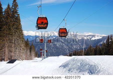 Jasna-march 15: Cableway Cabins At Jasna Low Tatras. It Is The Largest Ski Resort In Slovakia With 3
