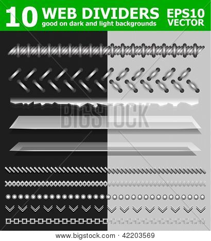 Set of 10 web page dividers