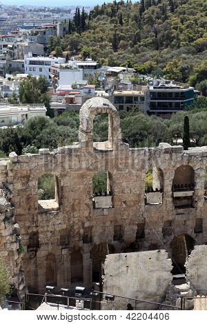 Wall Of Odeon Of Herodes Atticus