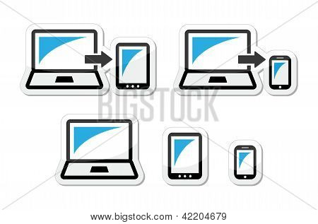 Responsive design - laptop, tablet, smarthone vector icons blue and black