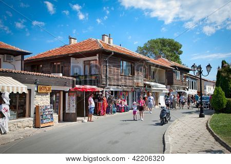 NESEBAR,BULGARIA-AUGUST 15: People visit Old Town on August 15, 2012 day of Nessebar, Bulgaria. Nessebar in 1956 was declared as museum city, archaeological and architectural reservation by Unesco.