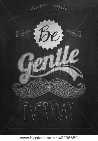 Vintage Mustache Calligraphic And Typographic Background With Chalk Word Art On Blackboard