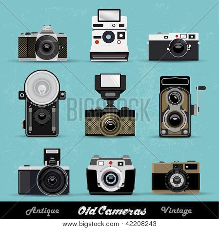 Set Of Vintage Cameras Background