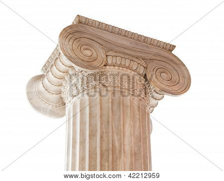 Ionic Column Capital On White