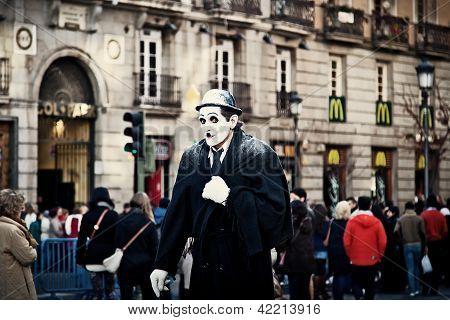 Street Performer Dressed As Charlie Chaplin