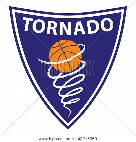 Basketball tornado on violet background