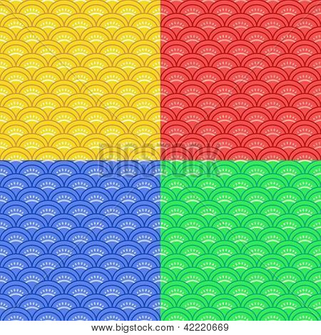 Seigaiha traditional japanese seamless pattern four color set, vector