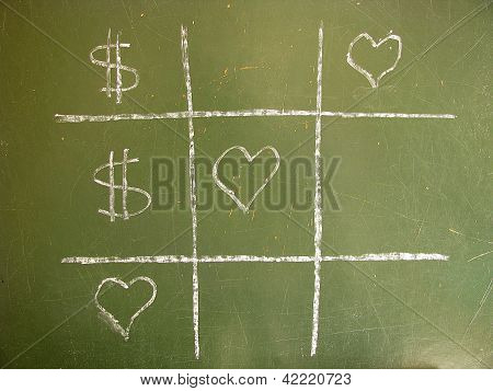 Tic-Tac-Toe love against money and win the love