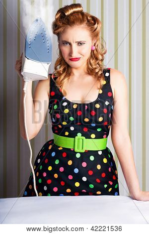 Funny 50S Pinup Girl Holding Steaming Hot Iron