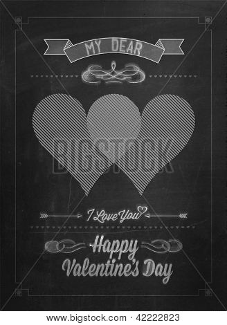 Happy Valentine's Day Hand Lettering - Typographical Background On Blackboard