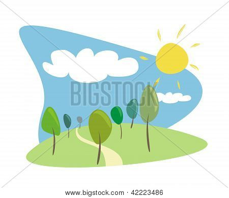 Grove with trees at sunny, blue sky spring or summer day. Vector illustration with green trees, sun.