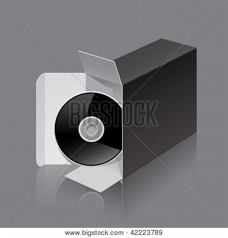 Black Package Box Opened lying on its side with DVD Disk