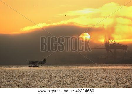 Misty Sunrise Floatplane Departure, Vancouver