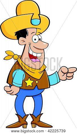 Vaqueiro Cartoon apontando