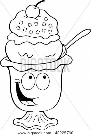 Cartoon ice cream sundae