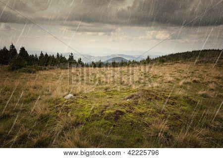Rain fallin on a mountain meadow with heavy skies