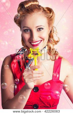 American Pinup Flight Hostess Giving Star Service