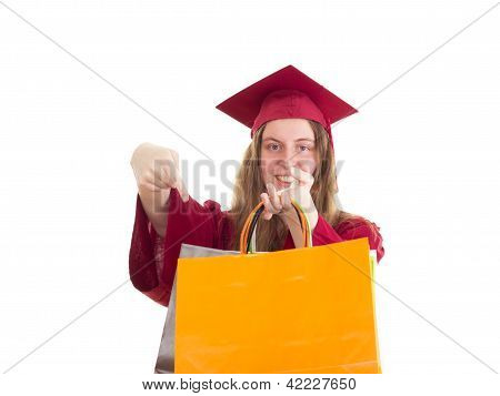 Female Student With Bags