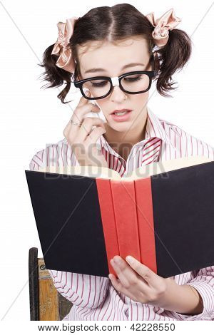 Cute Woman Reading Romance Novel Over White