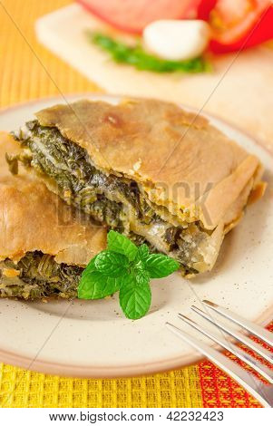 Pieces Of Spanakopita - Greek Spinach Pie