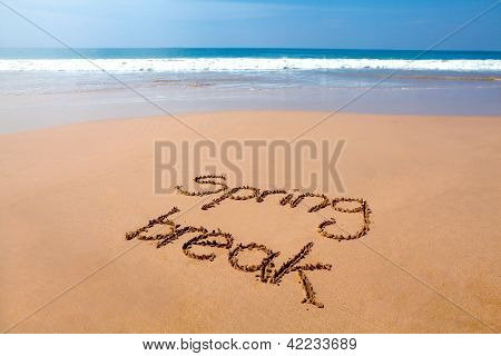 Spring Break Written In Sand - Tropical Beach