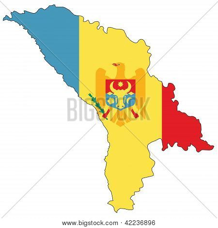 Country outline with the flag of Moldova