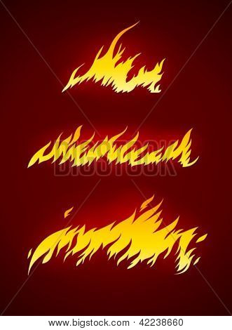 burning flame of fire vector silhouette vector illustration EPS10. Transparent objects used for shadows and lights drawing. Vector Illustration.