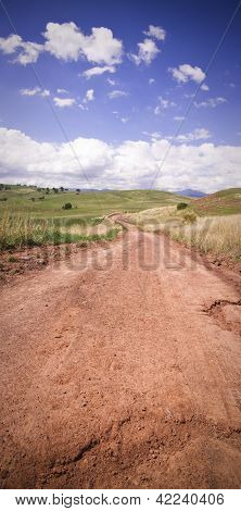 Red Dirt Country Road In Outback Australia