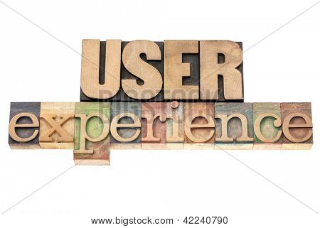 user experience - isolated text in vintage letterpress wood type printing blocks