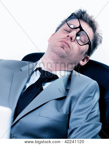 Tired Funny Portrait Of Businessman At The Office