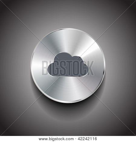 Botón de metal de la nube de Vector