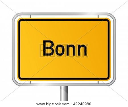 City limit sign Bonn against white background - signage - North Rhine Westphalia, Nordrhein Westfalen, Germany