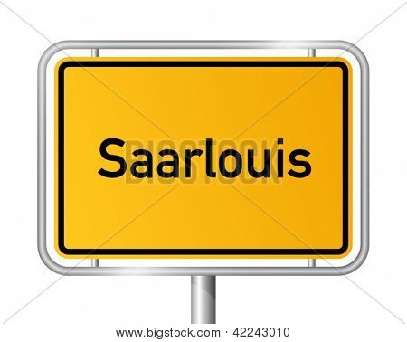 City limit sign Saarlouis against white background - signage - Saarland, Germany