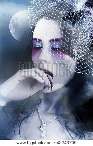 Beautiful Vampire Woman At Full Moon