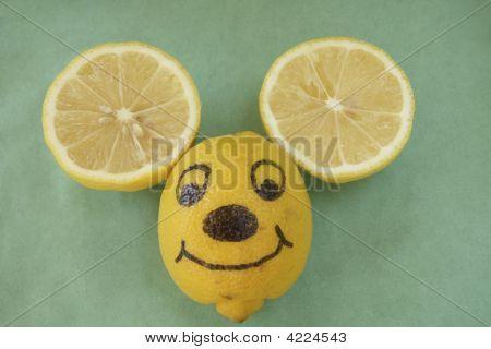 Smiling Lemon Mouse Face.