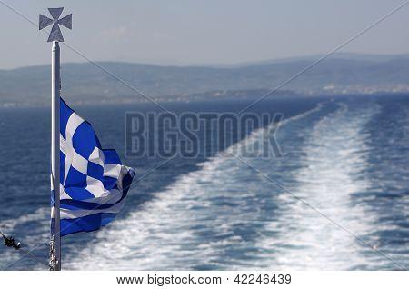 Greece Flag Ship Backwash