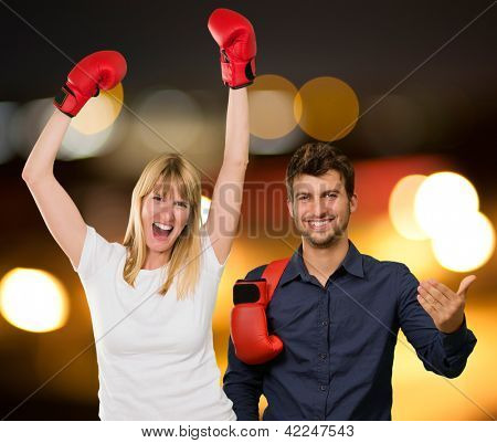 Portrait Of Happy Boxing Couple, Outdoors