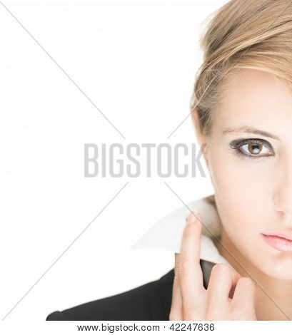 Young stylish woman on white background.