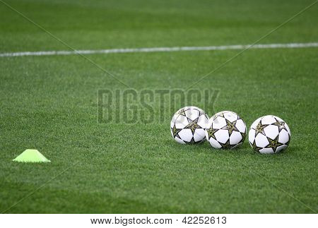 Official Uefa Champions League 2012/13 Season Balls On The Grass