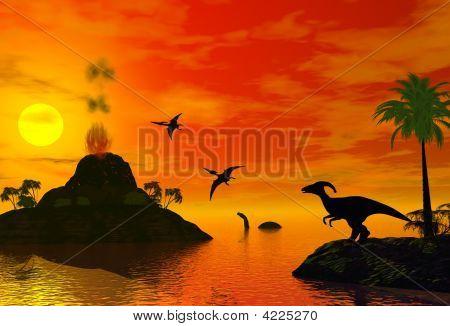Sunset Of Dinosaur
