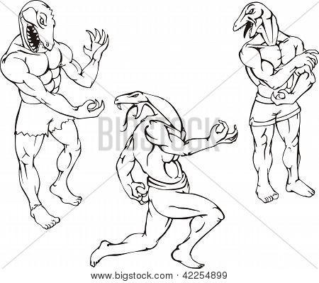 Reptile Mascots - Gator, Lizard, Cobra