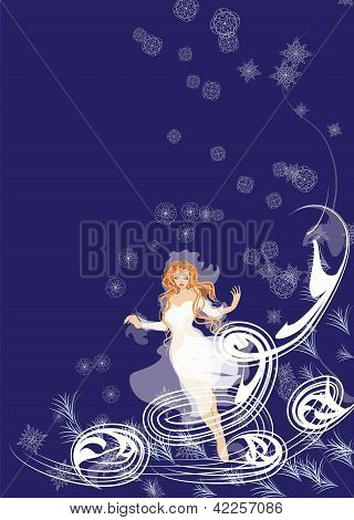 Vector girl bride-winter