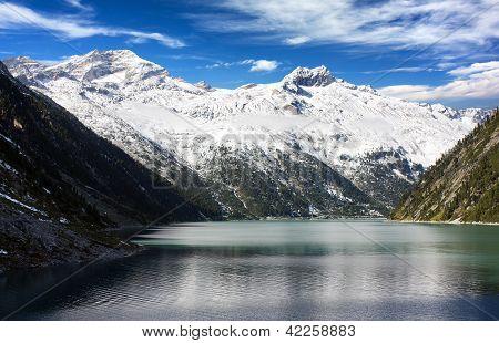 beautiful view of mount Olperer above Schlegeisspeicher lake - Zillertal Alps - Austria