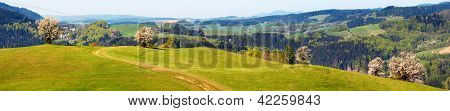 springtime view from Carpathian Mountains - Javorniky - Slovakia