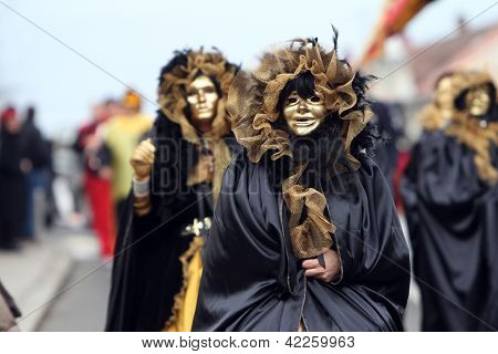 ZAGREB, CROATIA, FEBRUARY 02: Carnival parade on Shrove Saturday. Carnival masks from Croatia.They banish away the winter. Zagreb, Croatia February 02, 2013.