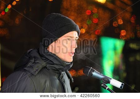 MOSCOW - JANUARY 25: Marat Safin at celebratory event Day of students at GUM-Skating rink on Red Square, January 25, 2012, Moscow, Russia. M.Safin is famous Russian tennis player, deputy of State Duma