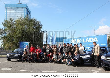 TOGLIATTI - SEPTEMBER 30: Test drive of Lada Granta club in VAZ factory on September 30, 2011 in Togliatti, Russia. Russian President Vladimir Putin called Lada Granta future people car.